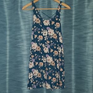 Forever 21 floral mini dress with lace-up back